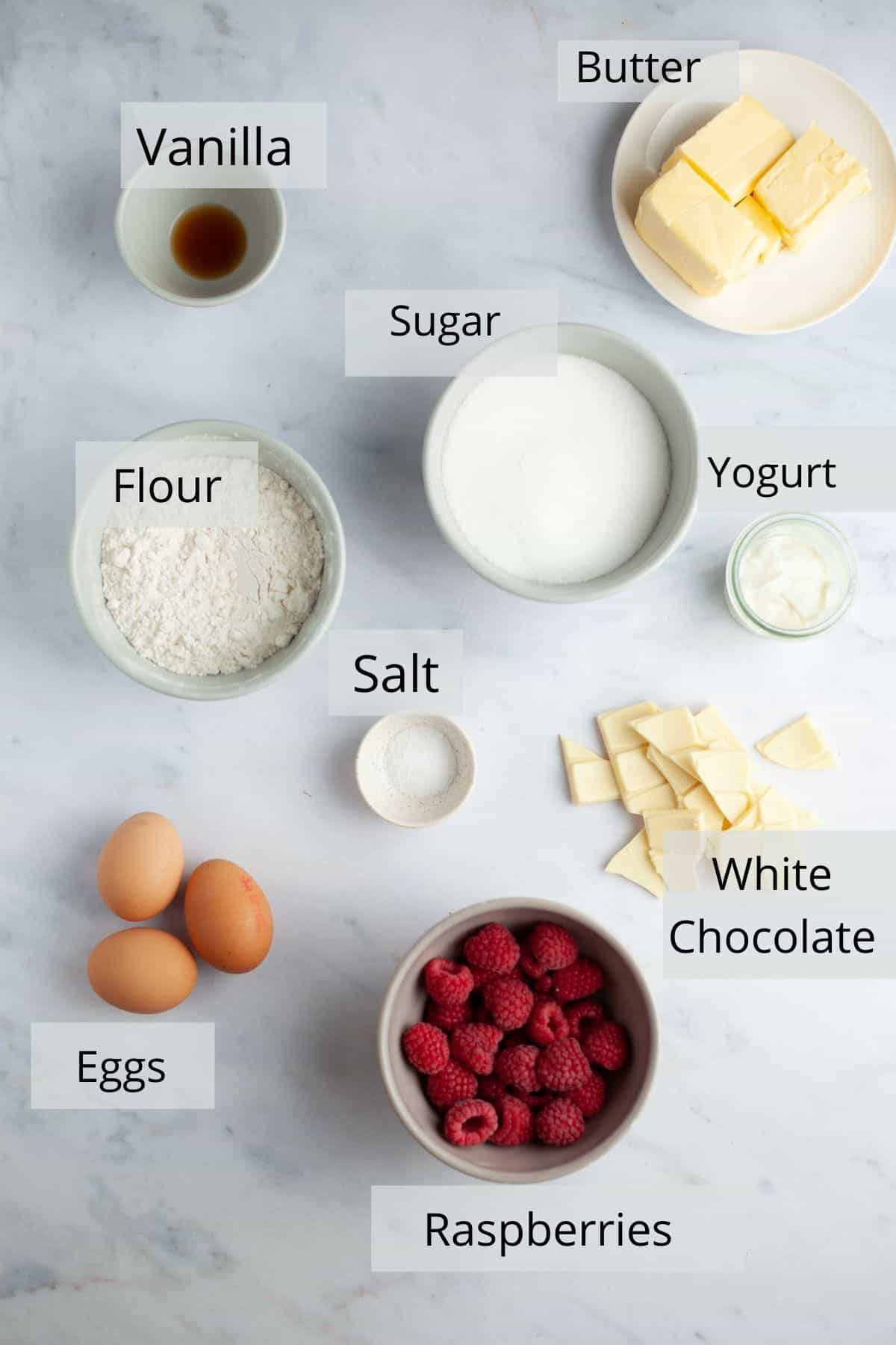 An overhead shot of ingredients for raspberry white chocolate loaf