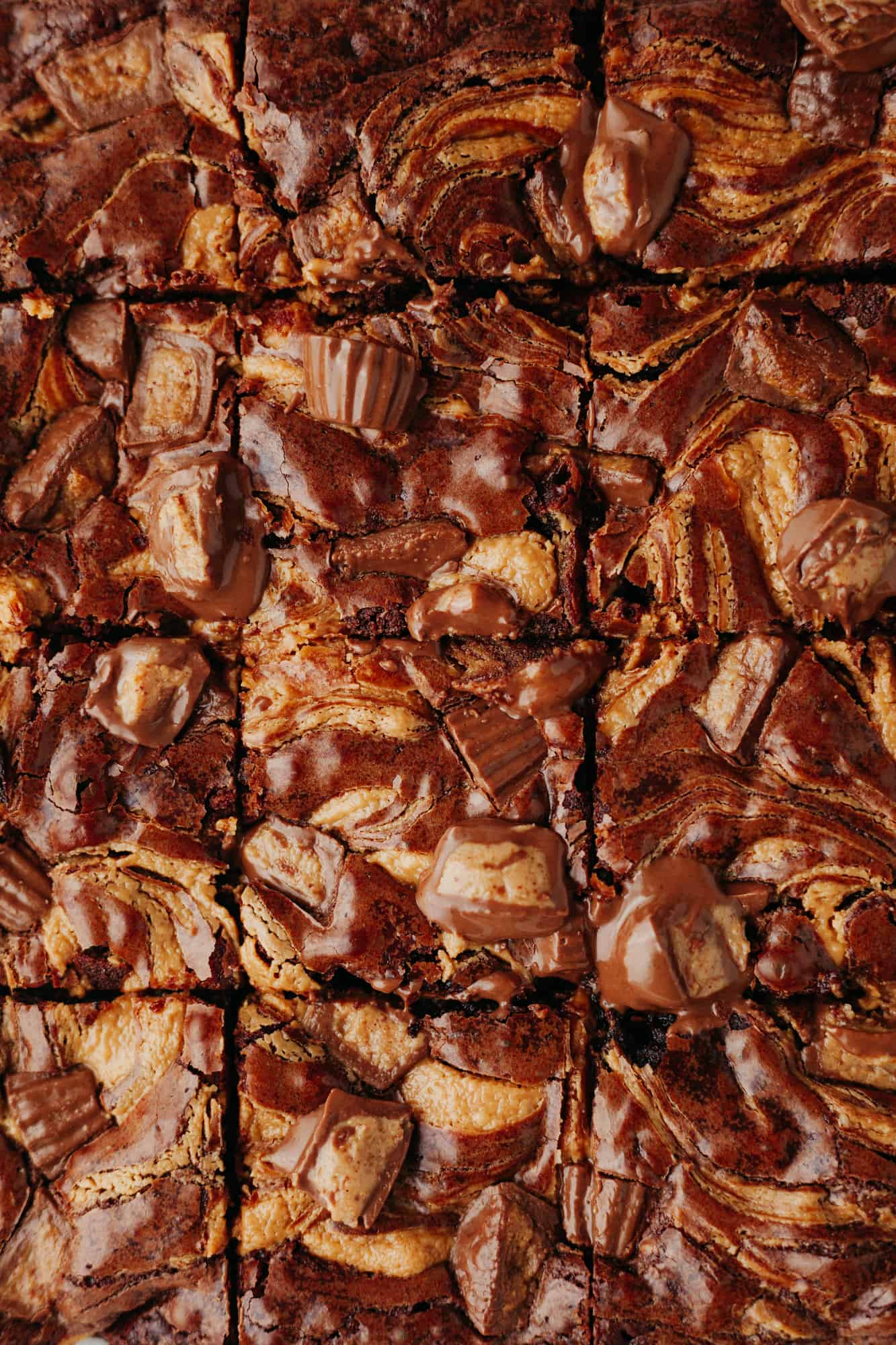 brownies with peanut butter cups cut into squares