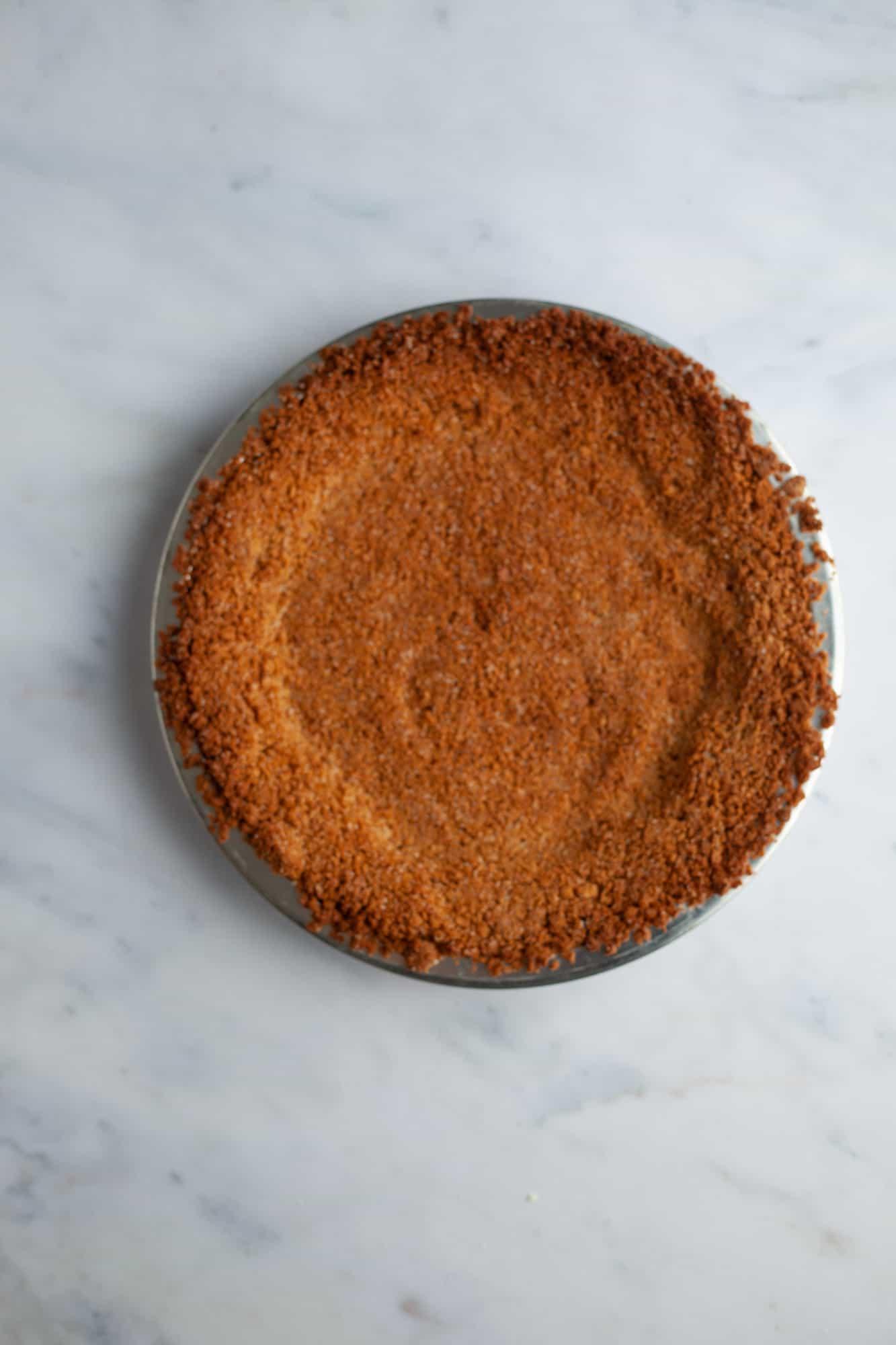 A baked graham cracker crust.