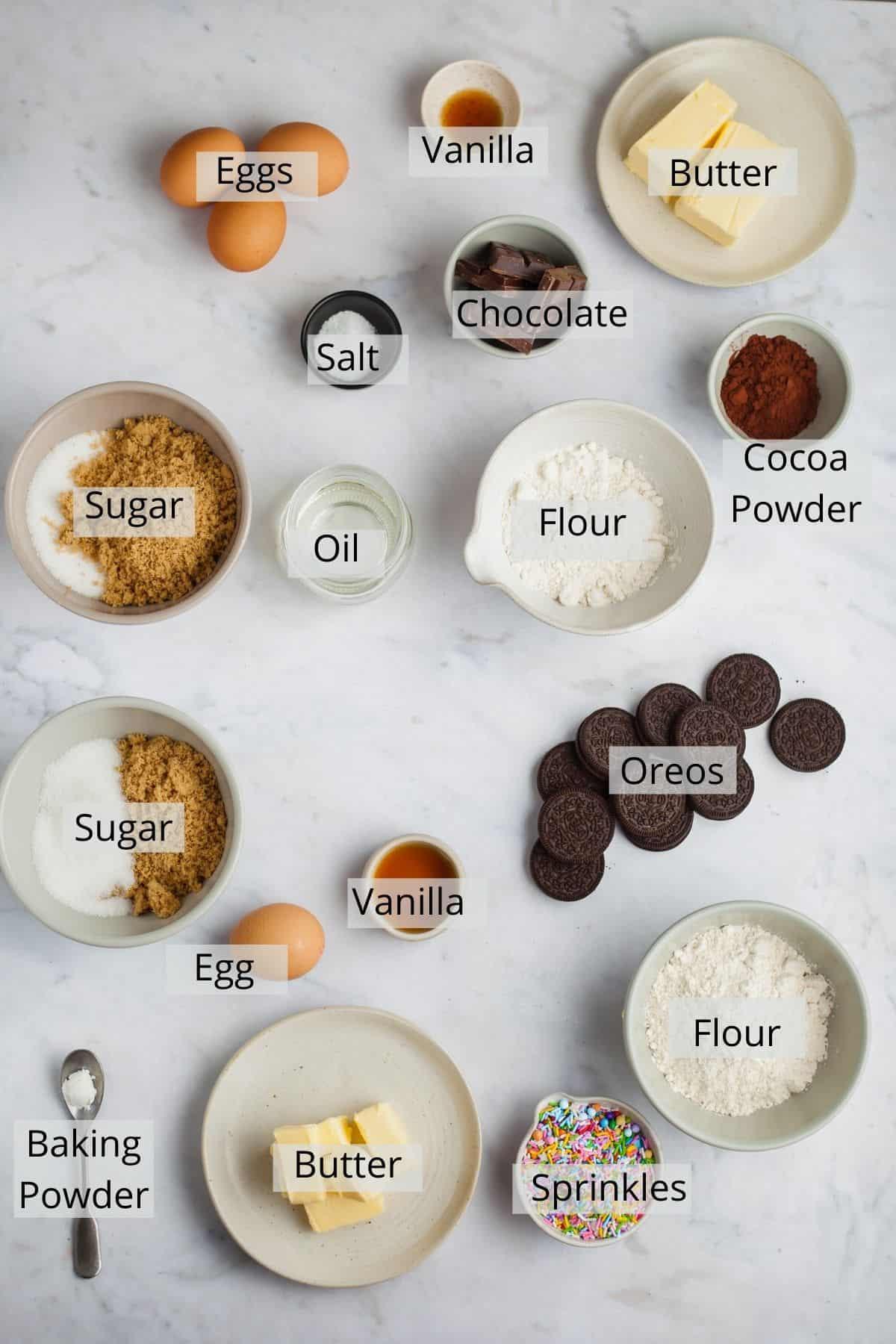 Ingredients needed for birthday cake brownies