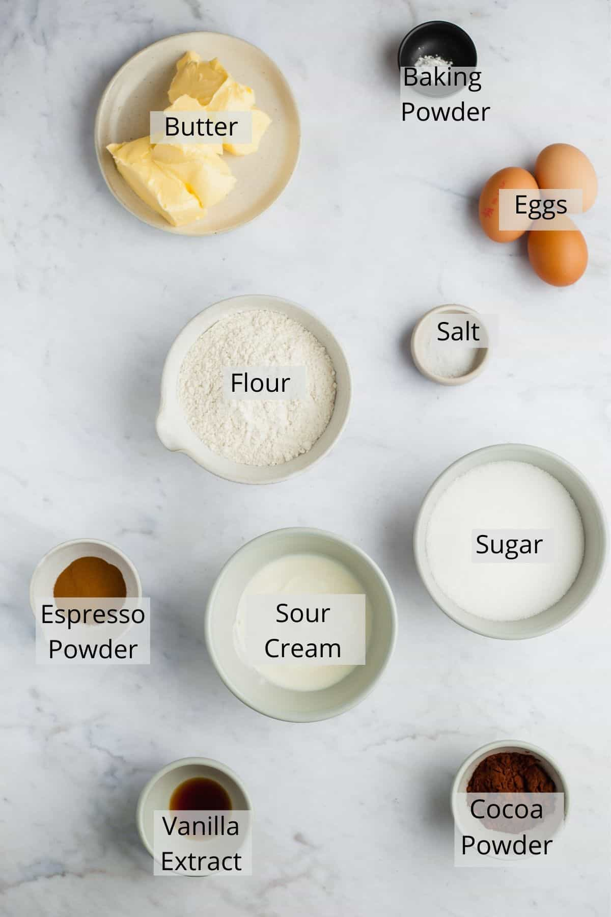An overhead shot of marble loaf cake ingredients