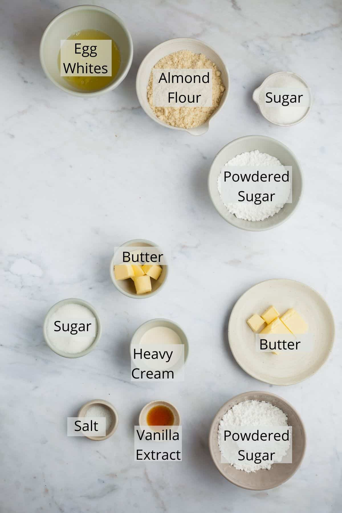 Ingredients needed for salted caramel macarons
