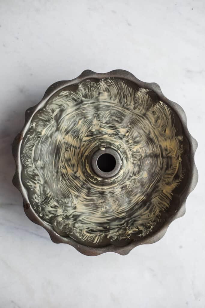 A greased bundt pan