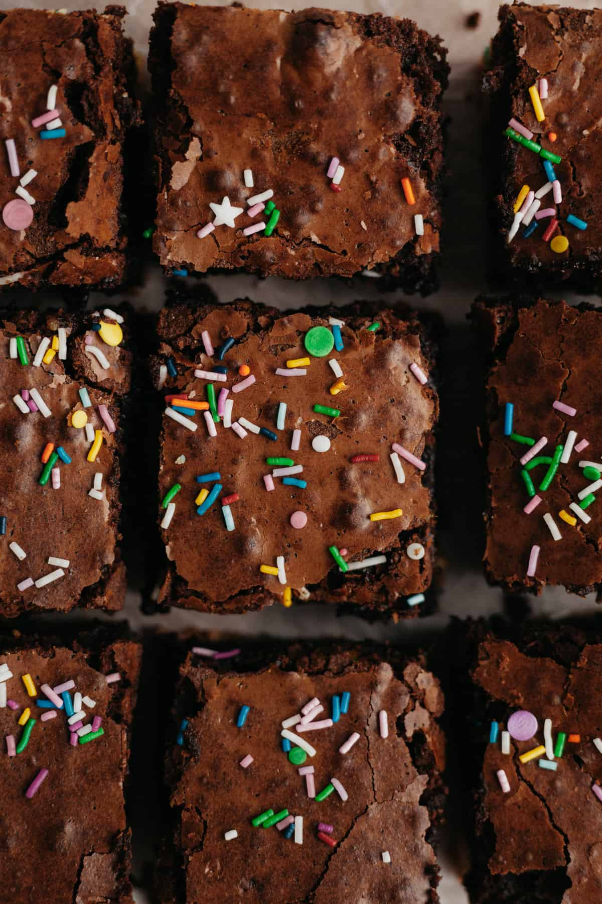 Brownies with sprinkles on top cut into squares