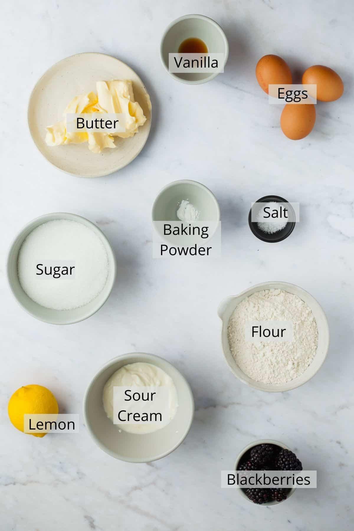 ingredients needed for blackberry lemon bread