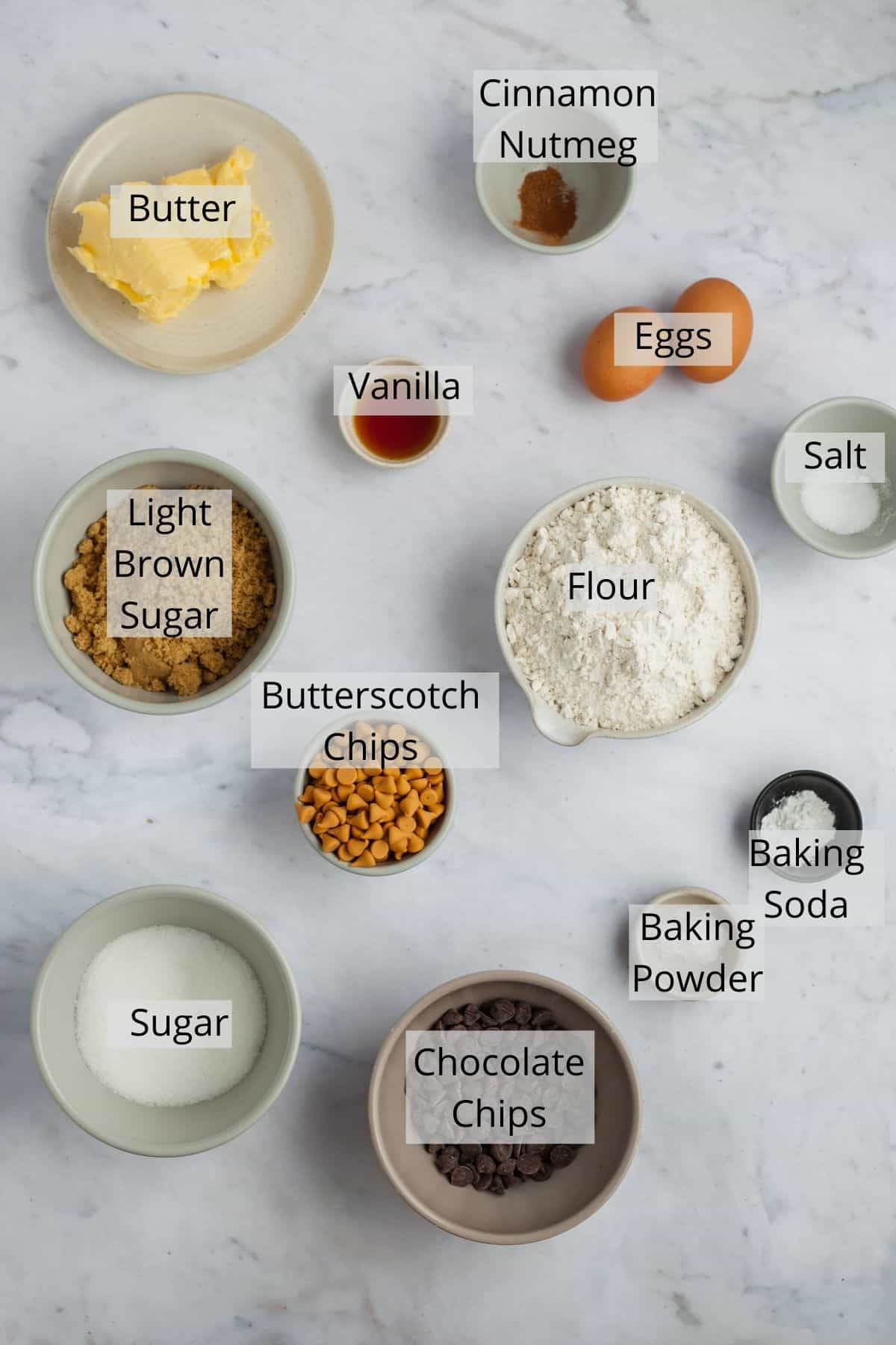 ingredients needed for chocolate chip butterscotch cookies