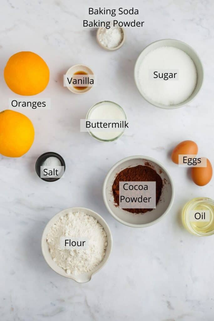 overhead shot of ingredients for chocolate orange cake