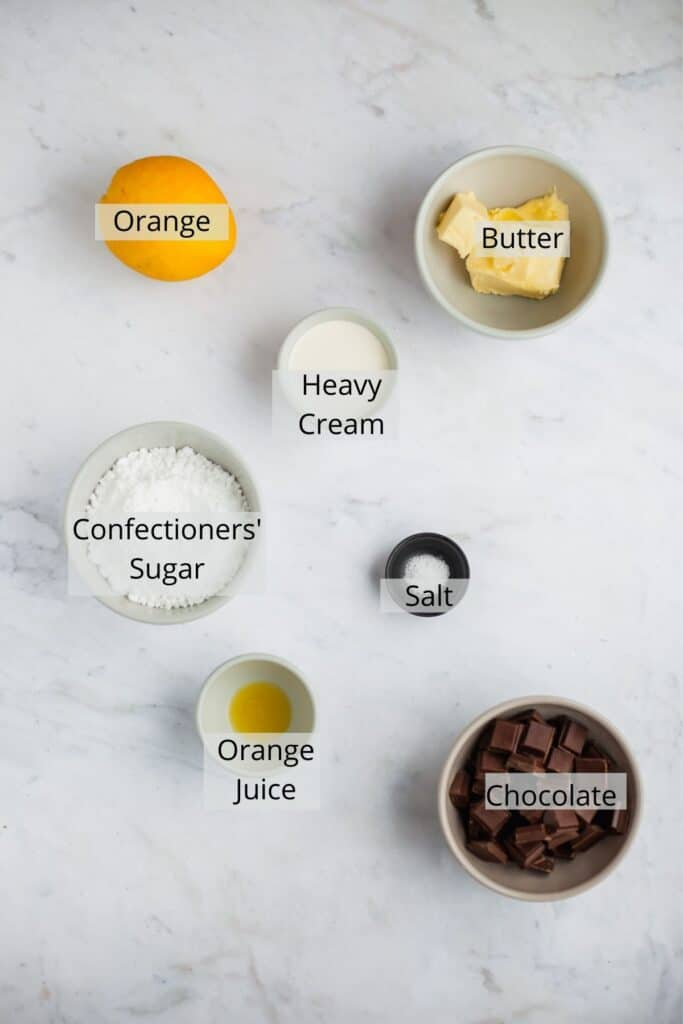 overhead shot of ingredients for chocolate orange frosting