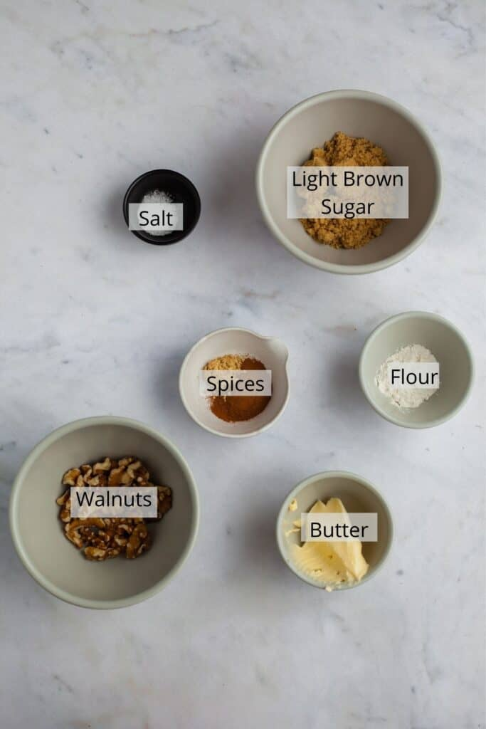 overhead shot of cinnamon crunch topping ingredients