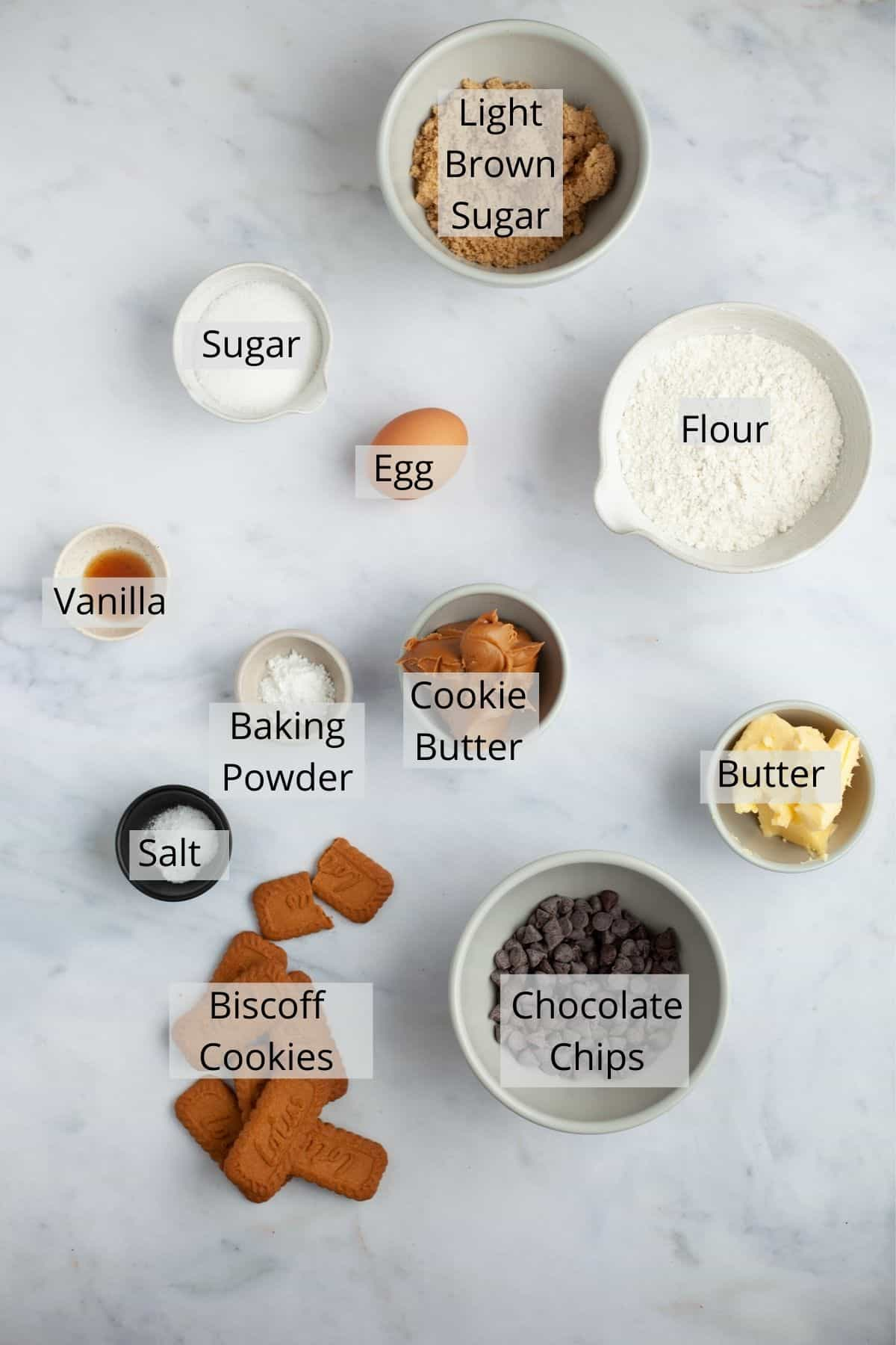 An overhead shot of ingredients needed for cookie butter blonies