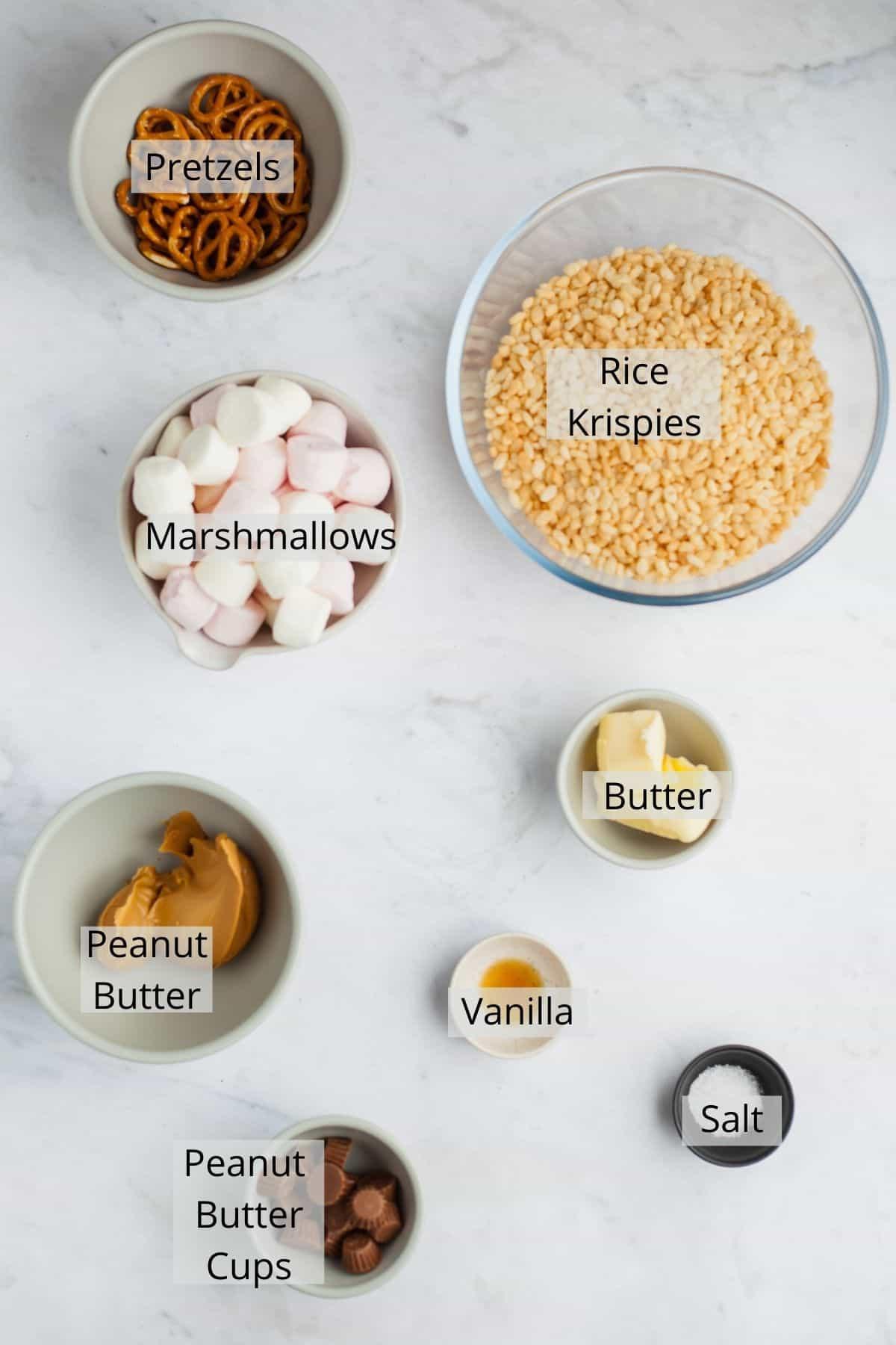 ingredients for peanut butter rice krispie treats