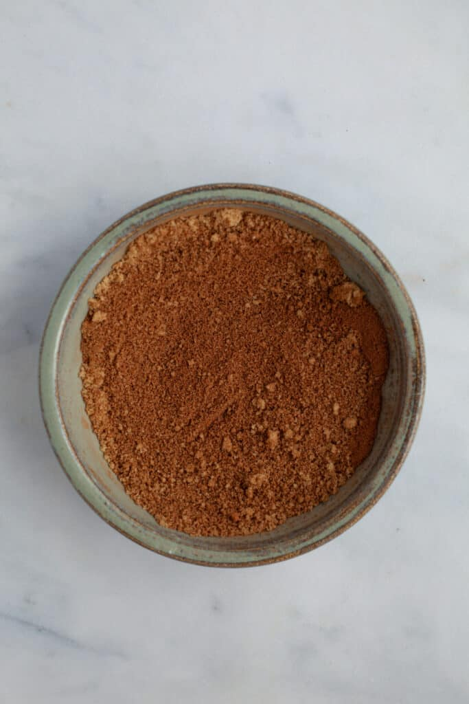 A grey bowl filled with chai spice mix