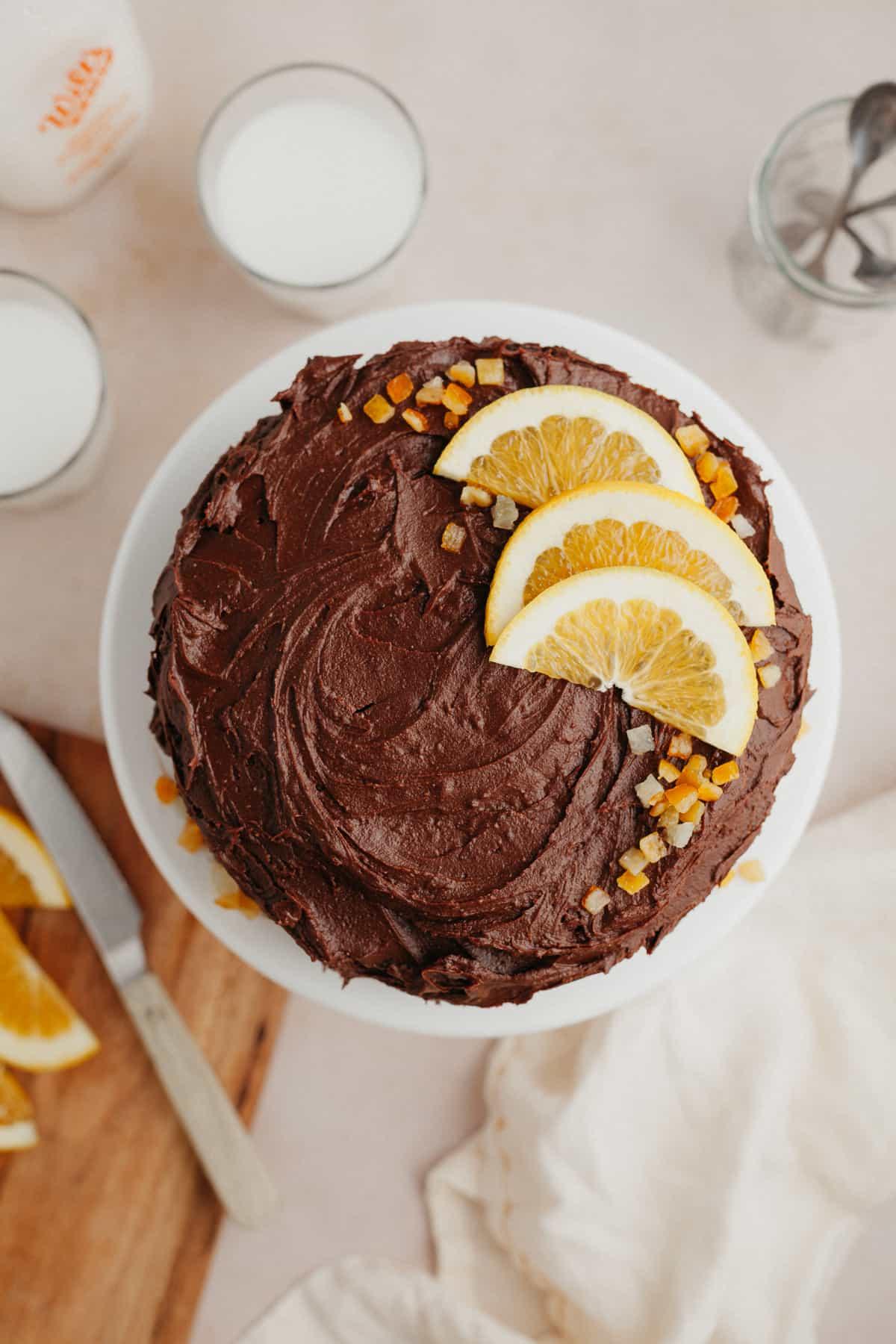 Overhead shot of a chocolate orange cake