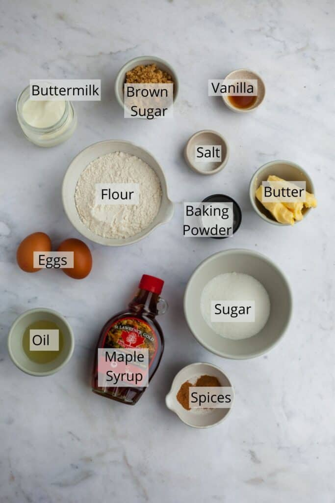 ingredients needed for maple cupcakes in a variety of small bowls