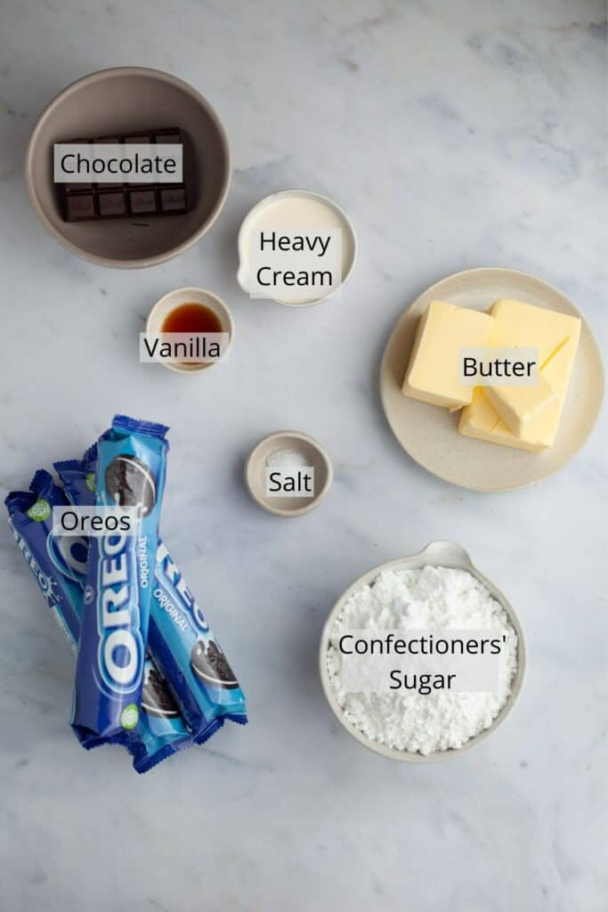 overhead shot of ingredients for Oreo frosting