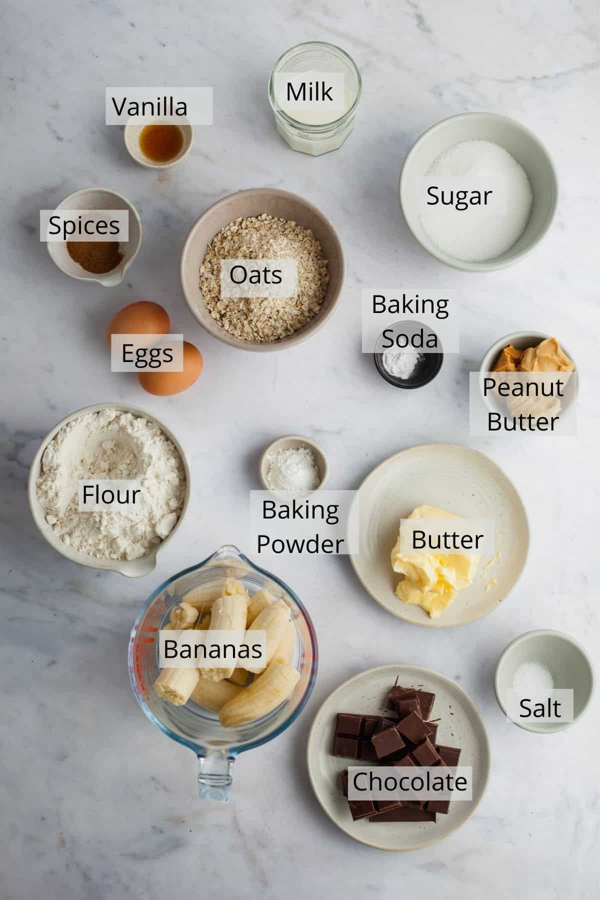 ingredients for peanut butter banana muffins