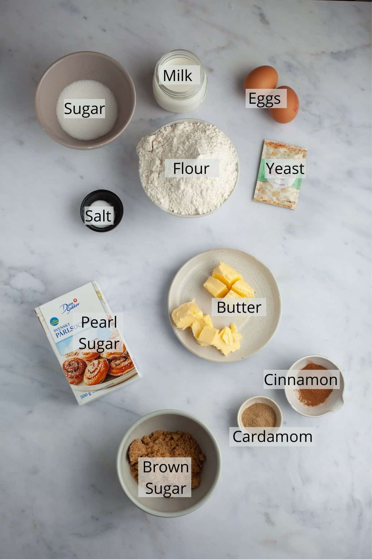 ingredients needed for Swedish cinnamon rolls