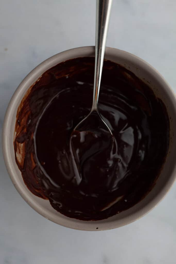 chocolate ganache in a grey bowl