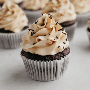 A close up of a mocha chocolate cupcake
