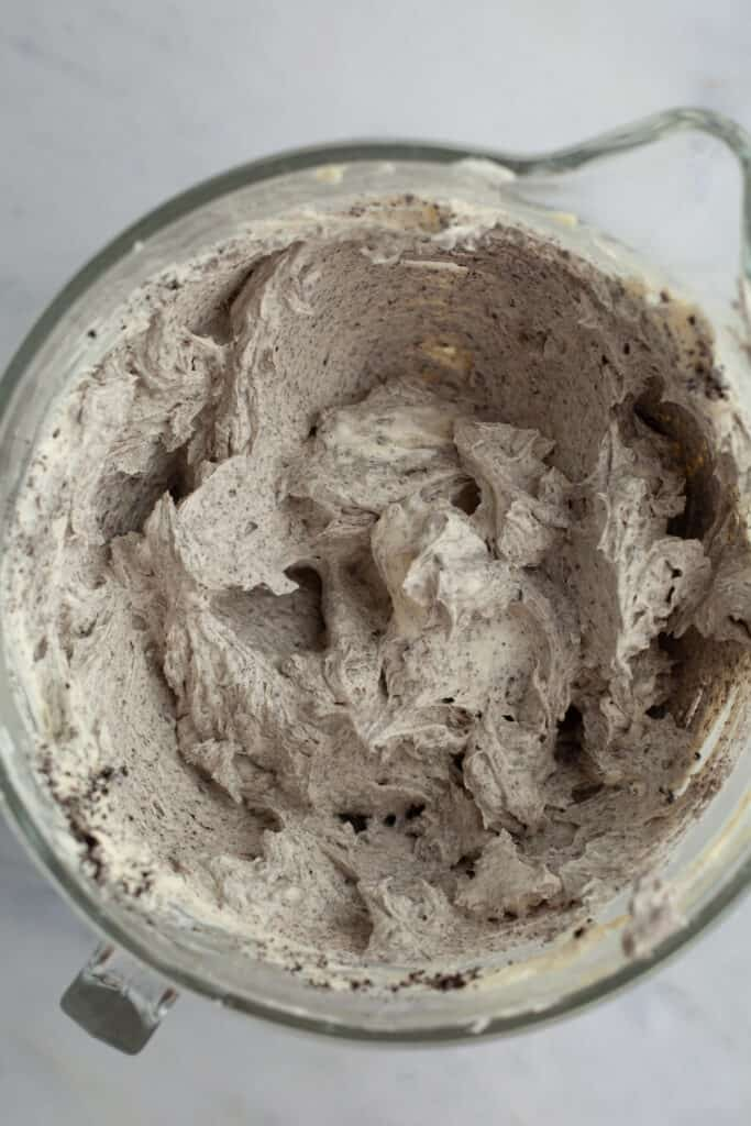 Oreo frosting in a glass bowl