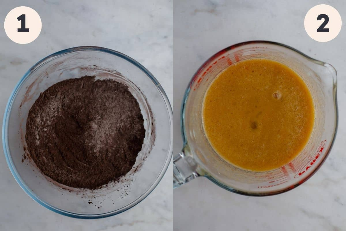 A glass bowl with cocoa powder in it, and a large glass jug with wet ingredients.