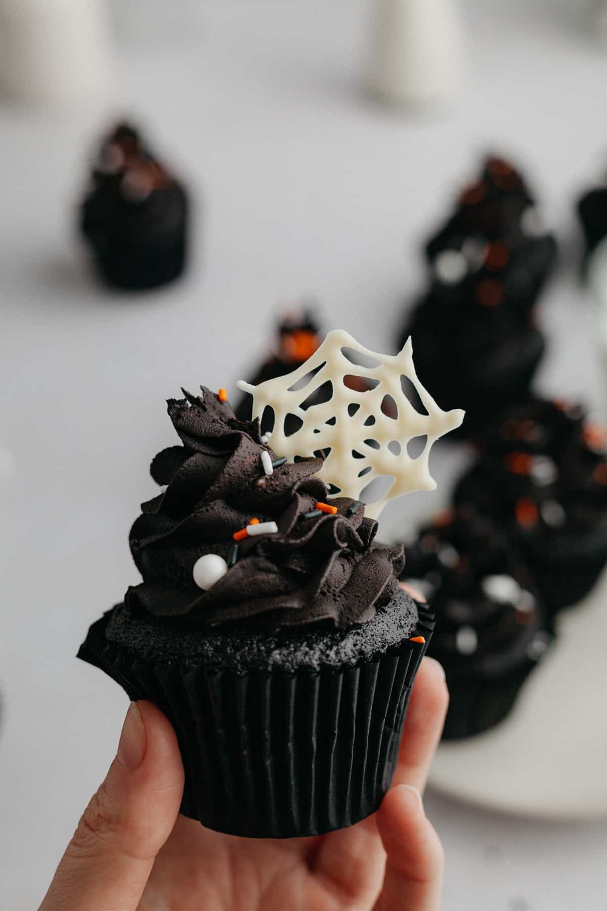 A hand holding a black velvet cupcake with a white chocolate spiderweb on top of the frosting.