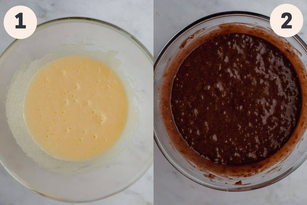 two images, the first showing a mixing bowl with cake batter, the second showing chocolate walnut cake batter