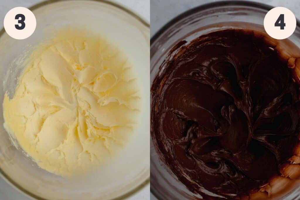 A bowl of whipped butter, then an image of a bowl with chocolate frosting