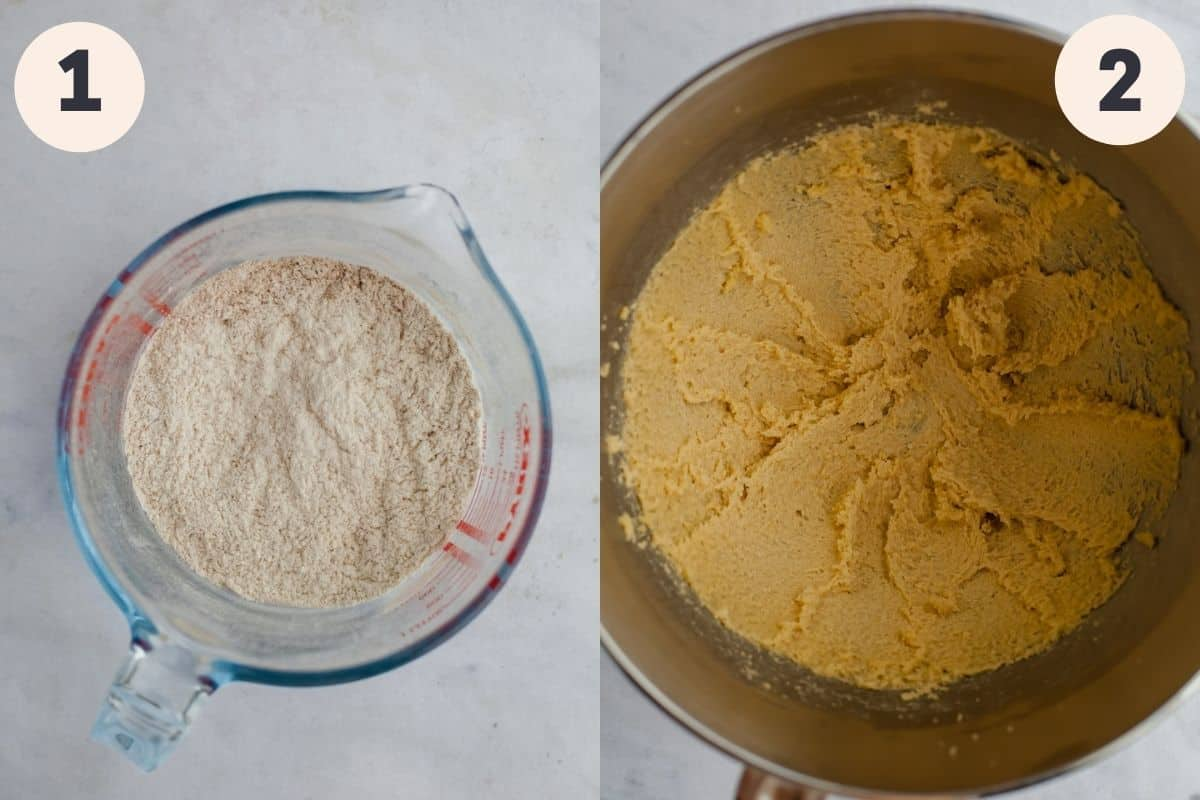 2 images, the first shows dry ingredients in a large glass jug, the second shows creamed butter and sugar in a mixing bowl