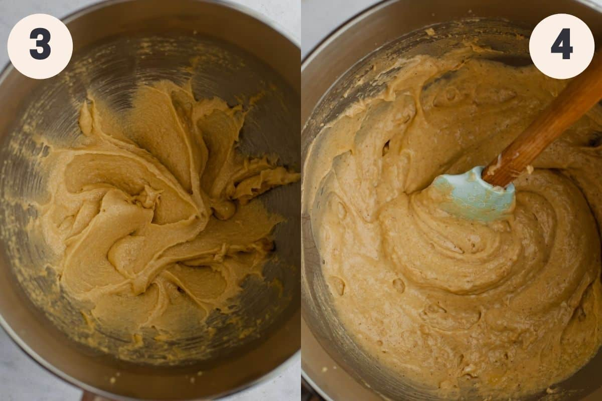 2 images showing mixing bowls with cupcake batter in it