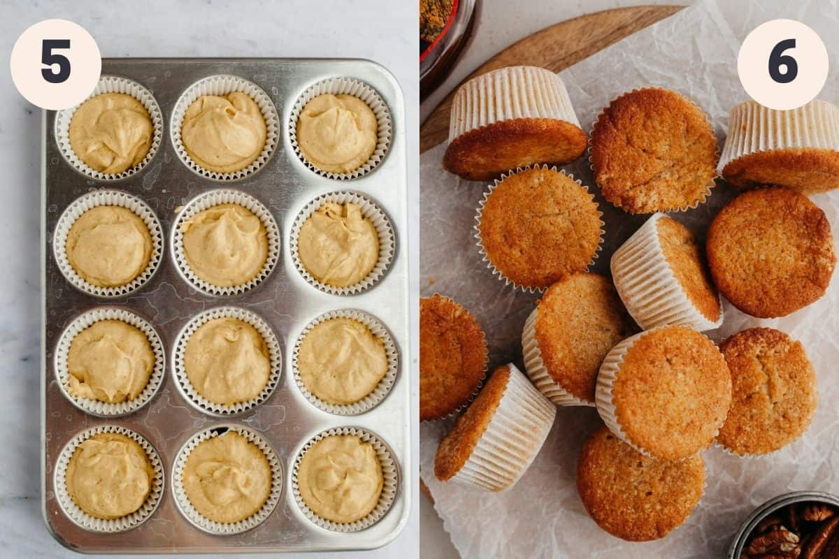 2 images - first shows unbaked cupcakes, second shows baked cupcakes on parchment paper
