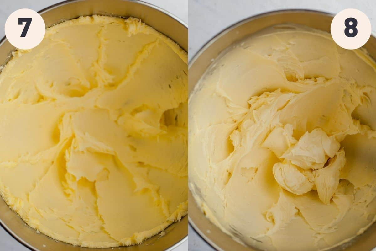 two images, the first shows creamed butter and sugar in a mixing bowl, the second shows a light yellow frosting in a mixing bowl