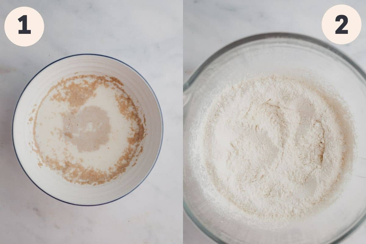 A bowl with yeast and milk in it, then a large bowl with flour in it.