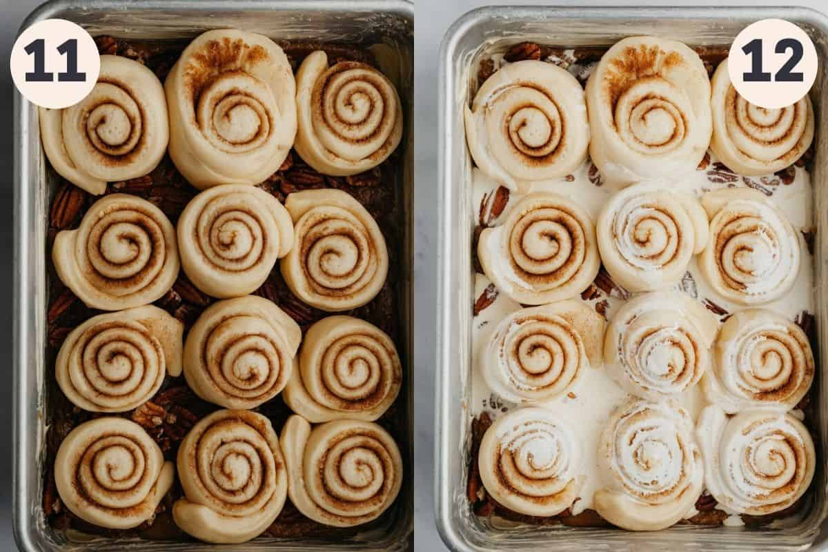 An tray of risen cinnamon rolls, then a second image of the tray of unbaked rolls covered in cream.