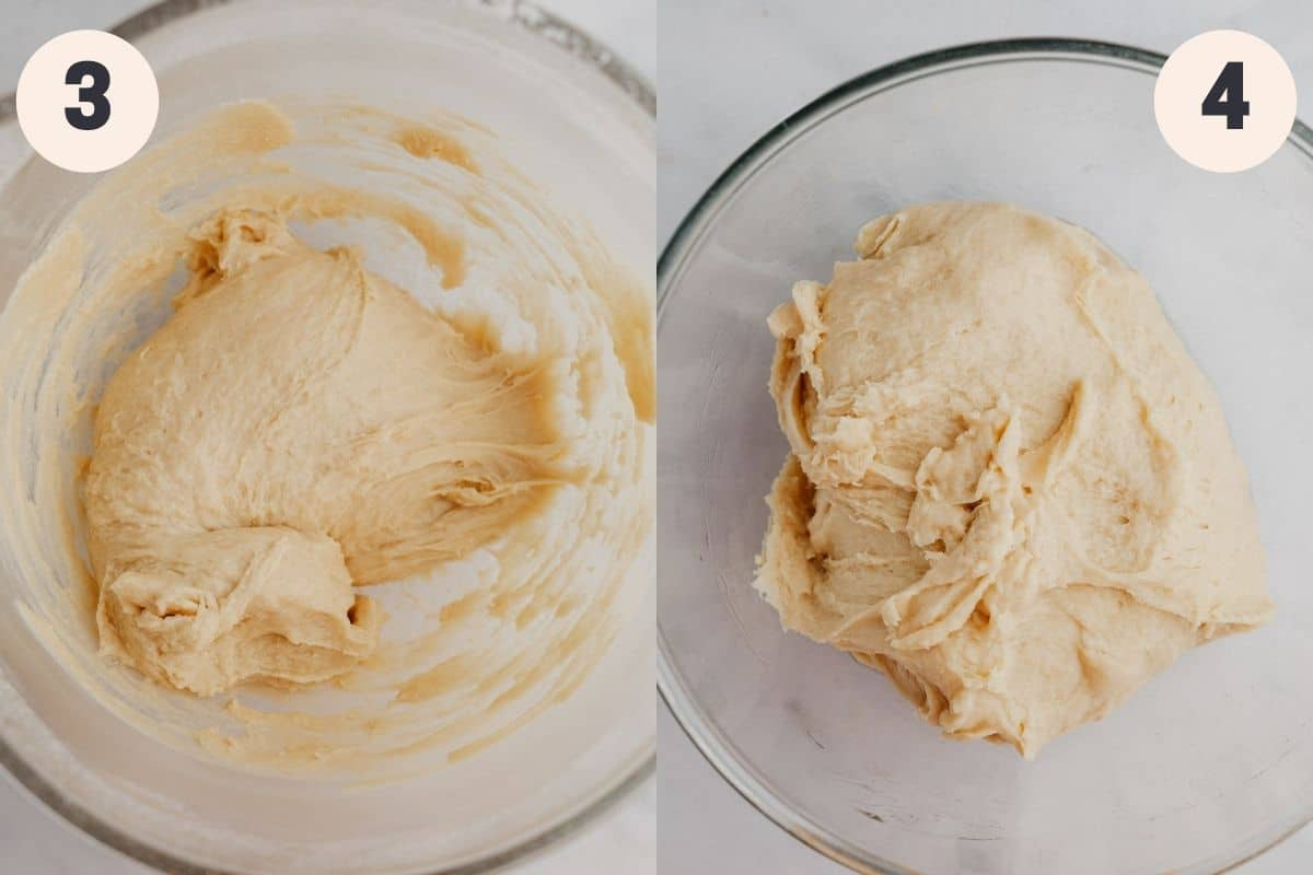 An image of a bowl with cinnamon roll dough in it, then another image of the bowl with the risen dough.