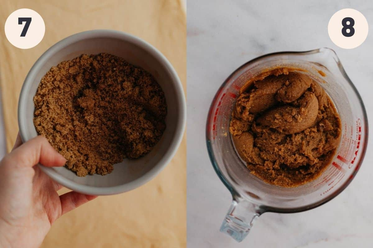 A hand holding a bowl with brown sugar, then a large glass jug with cinnamon roll filling in it.