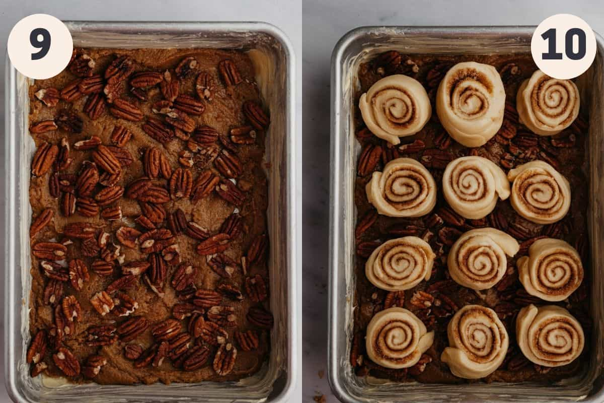 A tray of pecans and brown sugar, then the same tray with unbaked cinnamon rolls on top.