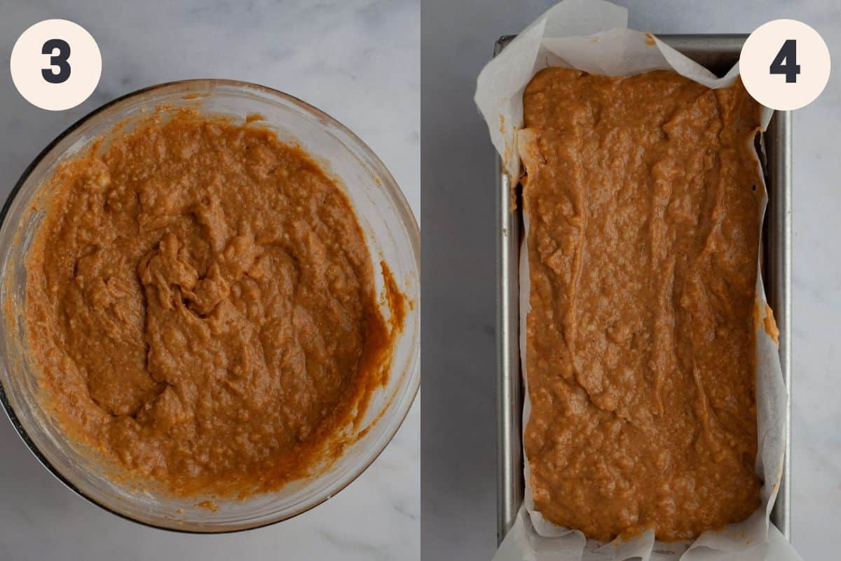 A bowl with pumpkin banana bread batter, then a loaf pan filled with that batter