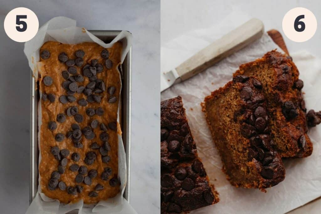 an overhead shot of unbaked chocolate chip pumpkin banana bread, then an overhead shot of the loaf baked