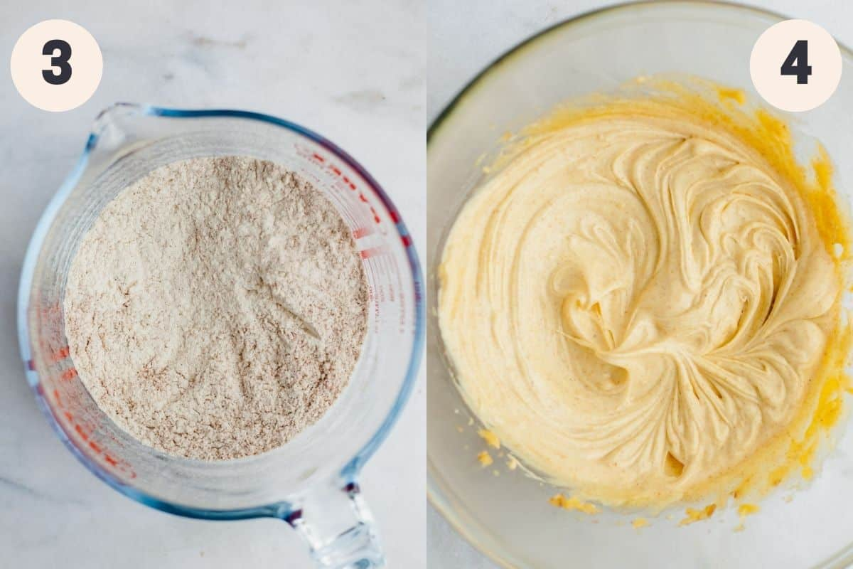 a glass jug with flour and spices in it, then a bowl with creamed butter