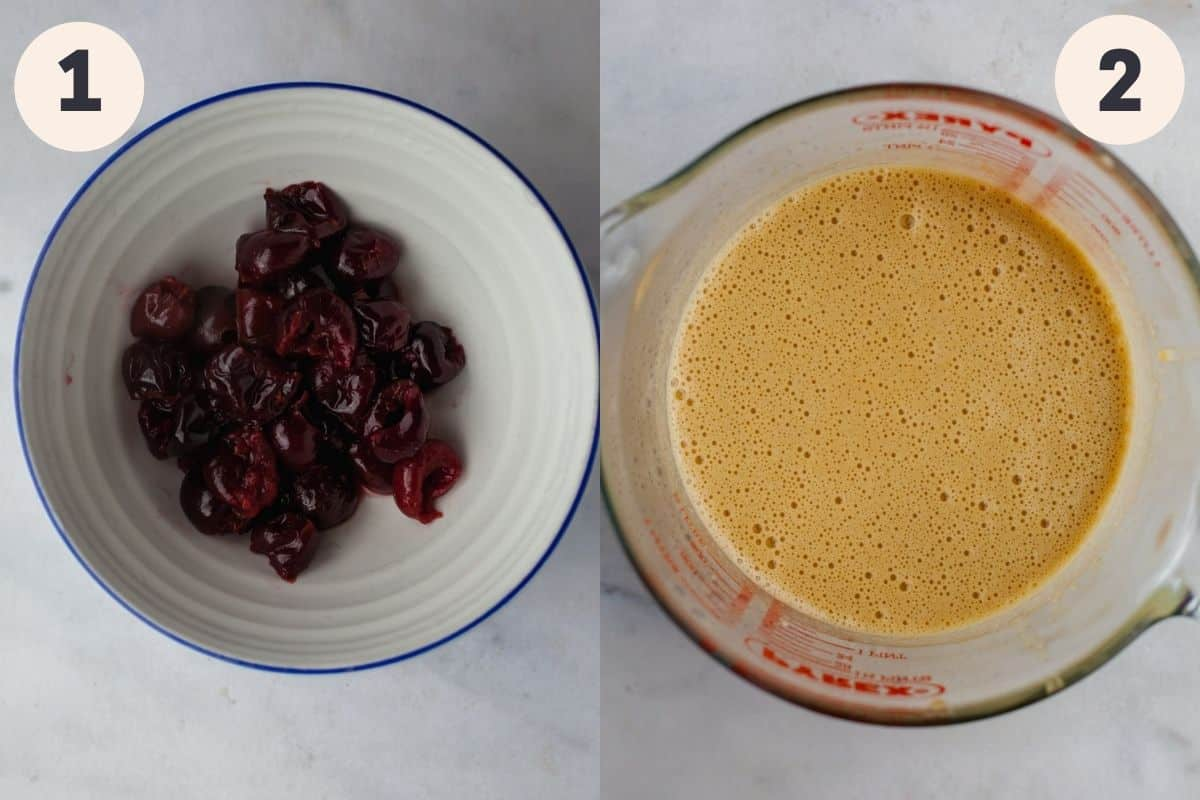 a white bowl with cooked cherries in it, and a large glass jug with a yellow mixture in it.