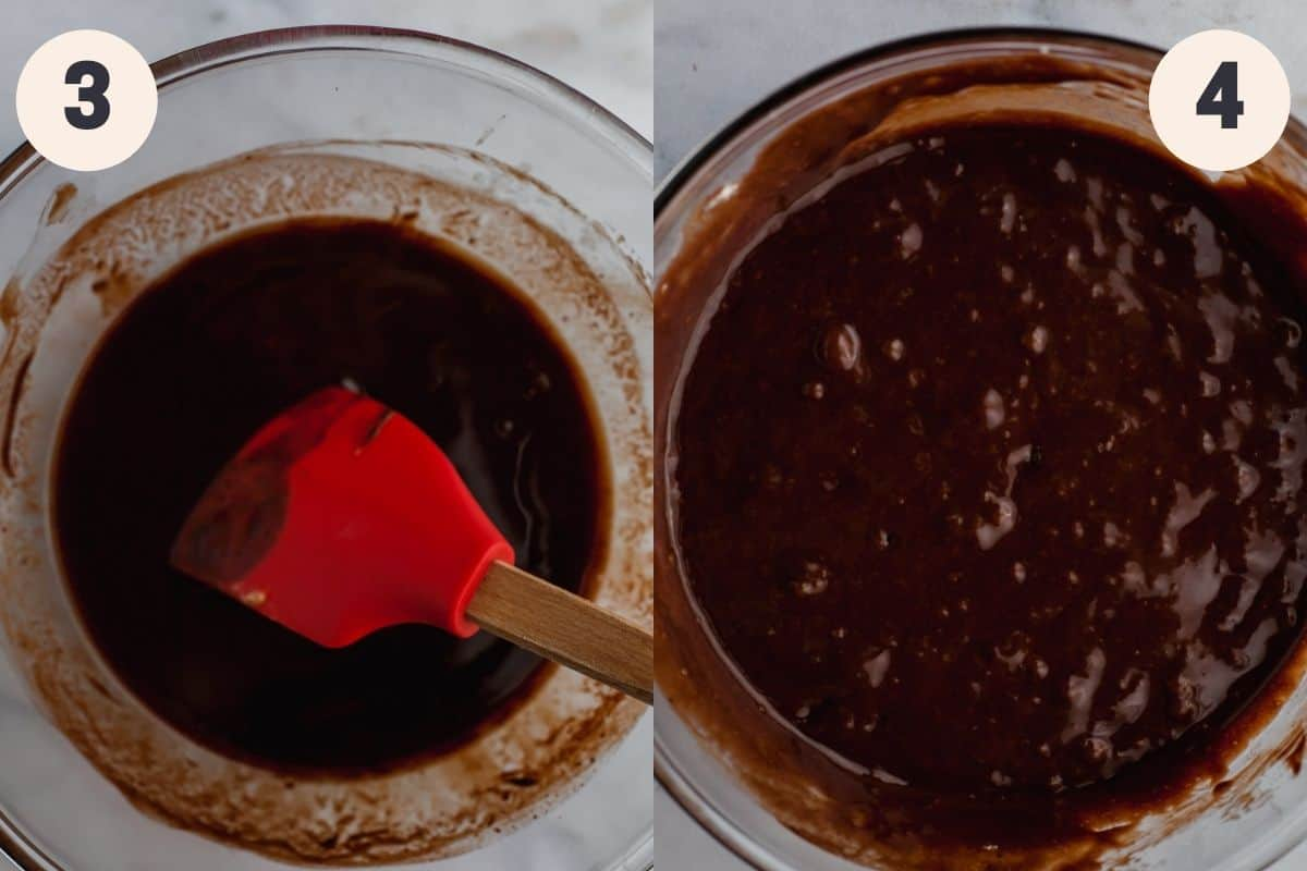 A glass bowl with melted chocolate in it, then the same bowl with brownie batter in it.