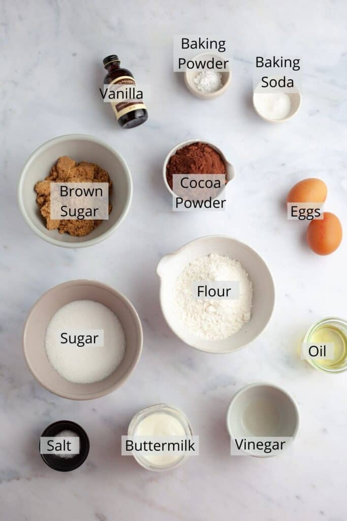 ingredients for nutella cupcakes weighed out in small bowls.