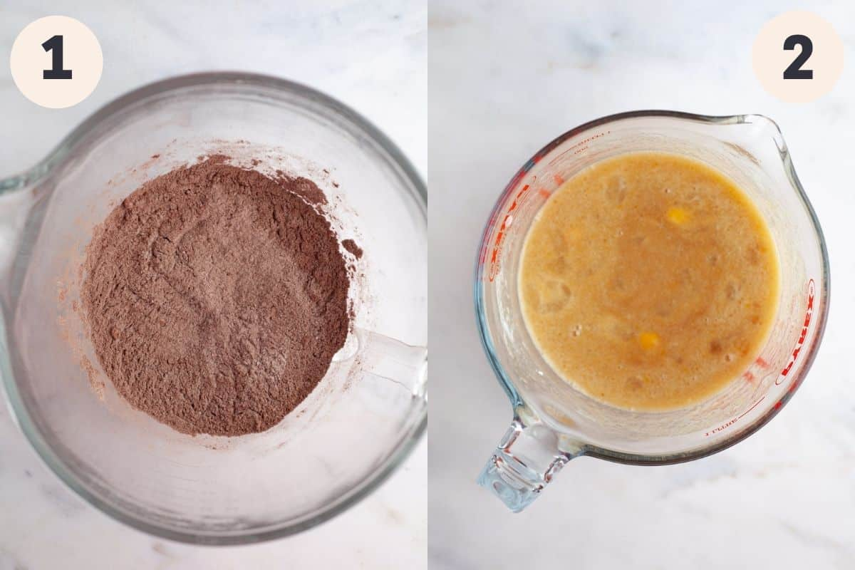 A bowl with flour and cocoa powder, and a large glass jug with whisked eggs and sugar.