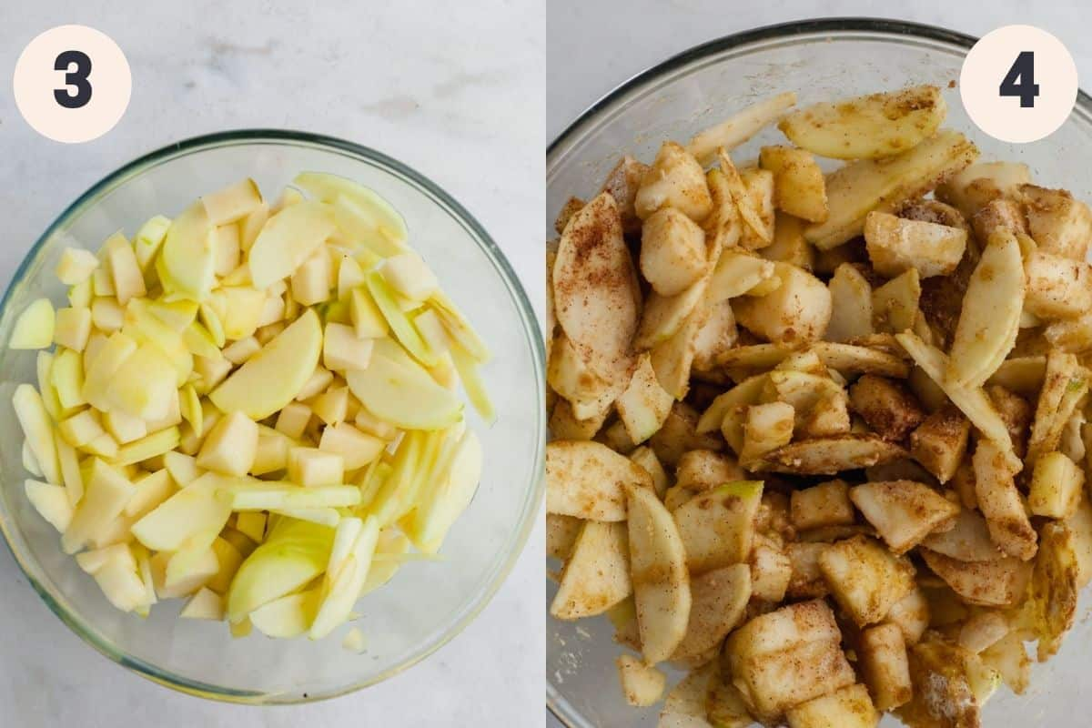 a bowl of chopped apples and pears, then an image of that bowl mixed with spices.