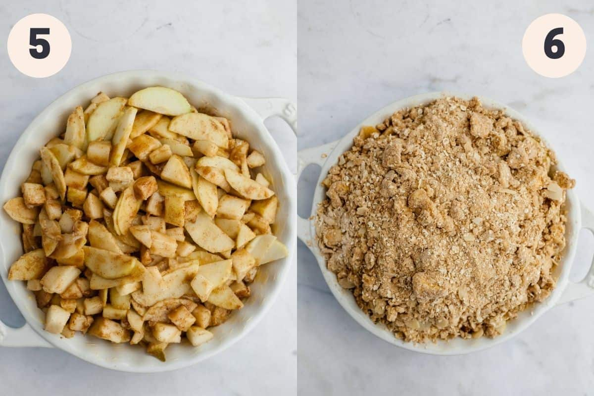 A white ceramic dish filled with pears and apples, then another image of that dish covered in an oat topping.