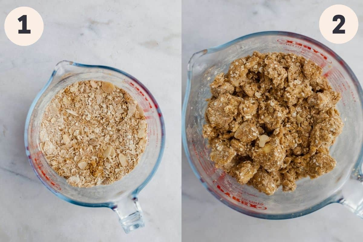 A glass jug with oats and flour, then the next step showing those dry ingredients mixed with butter.