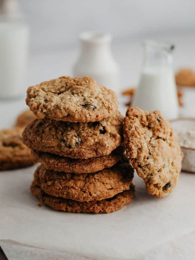 A stack of oatmeal craisin cookies